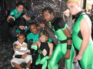 A group of Green Lanterns with fans at DragonCon 2008