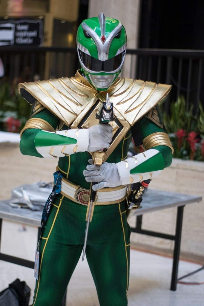 Catlackgrill cosplaying as the Green Ranger from Mighty Morphin Power Rangers