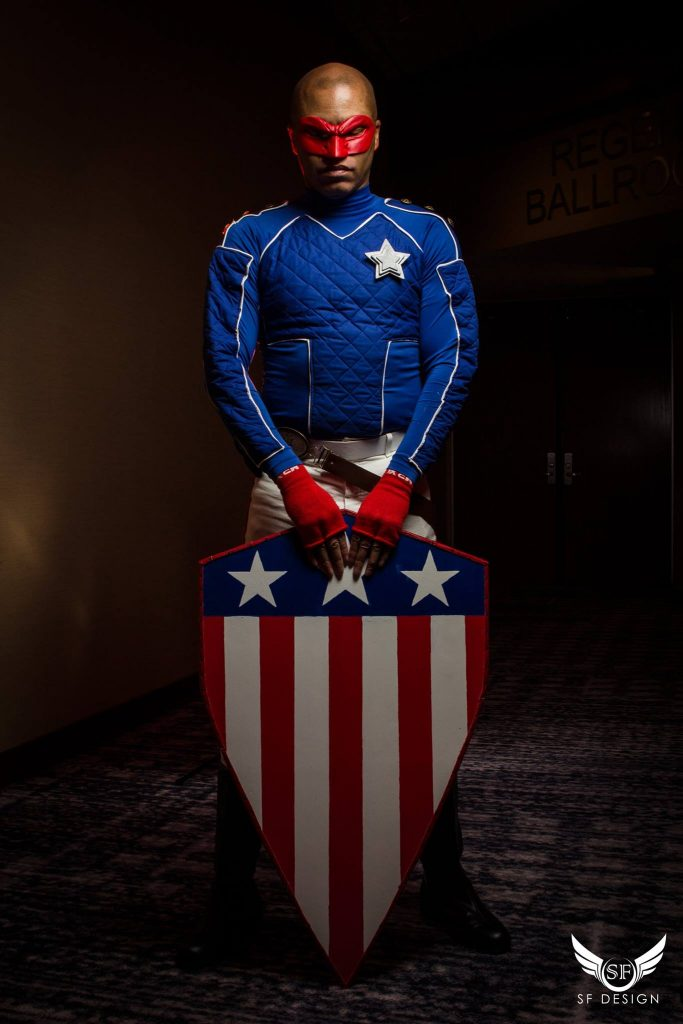 NavyMontel cosplaying as as Patriot from the Young Avengers