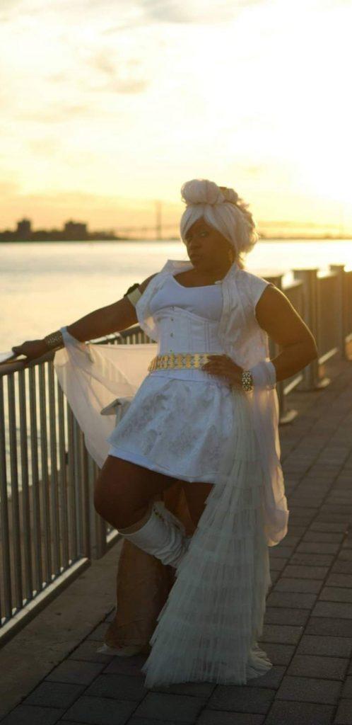 Mandisa Njeri cosplaying as Steampunk Storm from X-Men