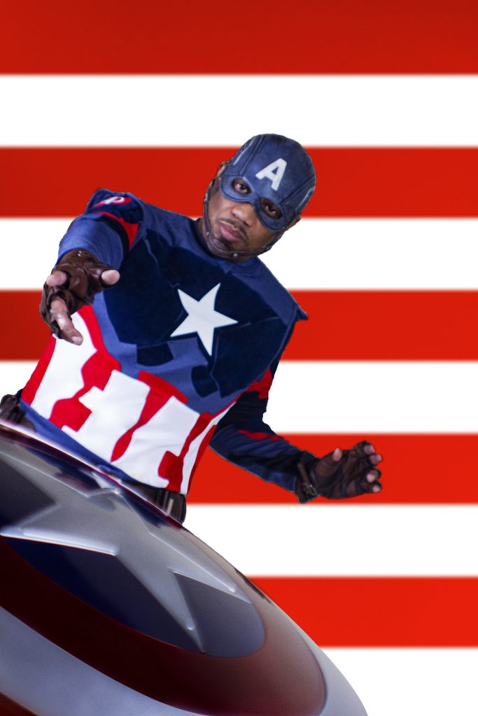 Barr Foxx cosplaying as Captain America from Marvel Comics