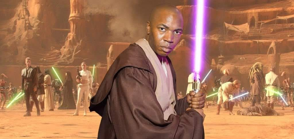 Marquestion cosplaying as Mace Windu from Star Wars