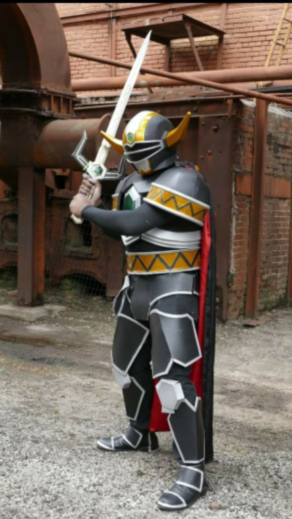 Static Jones cosplaying as The Magna Defender from Power Rangers: Lost Galaxy